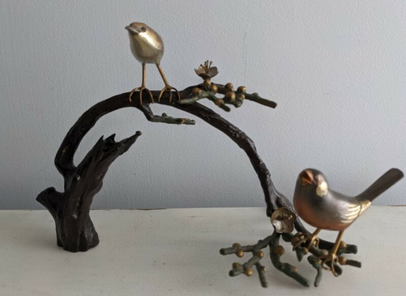 Vintage Japanese Signed Mixed Metal Sculpture Birds Perched on a Branch Okimono