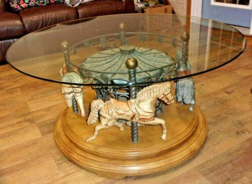 "Beautiful Vintage 4-HORSE ROTATING CAROUSEL COFFEE TABLE WITH 44"" GLASS TOP"