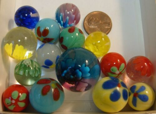15 Collector Marbles Handmade Flowers Green Red Multicolor Beautiful Gift Lot