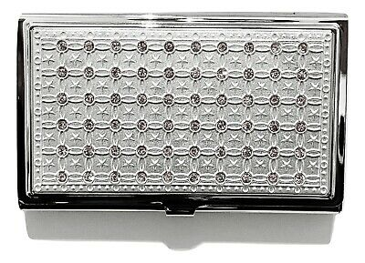 Bejeweled Silvertone Metal Business Card Holder Case With Clear Crystals