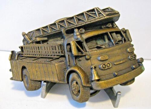 1978 Fire Truck Aerial Ladder Engine Fireman Dept. Belt Buckle Bergamot Brass