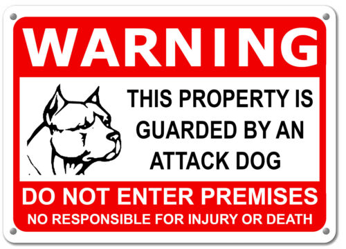 "Guard Dog on Duty HORIZONTAL Sign Beware of Dog Sign Dogs Will Bite 11""x7"" Sign"