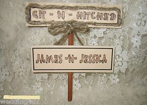 Wedding Reception Party ~Git N' Hitched~ Sign Redneck Western Your Names