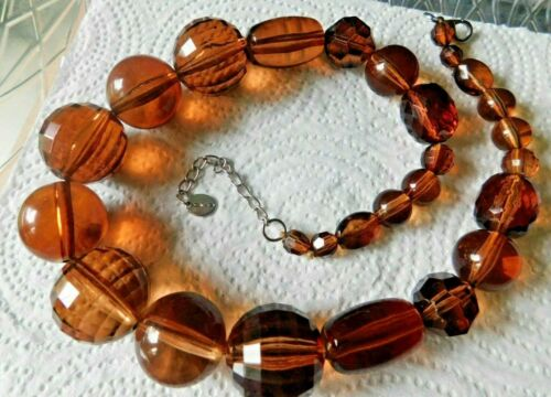 Icing Necklace Facet & Smooth Graduated Amber / Faux Tortoise Shell Beads Lucite
