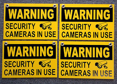 4 Warning Security Cameras In Use Signs 8x12  New With Grommets Surveillance
