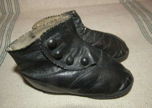 Too Cute~Antique Baby Toddler Black Leather Button High Top Boots~Doll Size