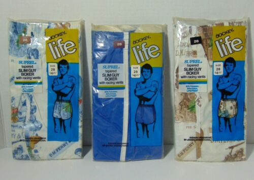 Lot 3 Pair New Vintage 1972 NOS Jockey Life Slim Guy Boxers Size 28 Made in USA