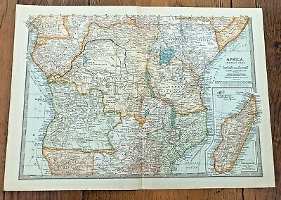 1903 large colour fold out map titled - africa - central part  !