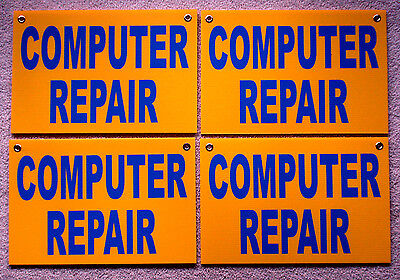 4 Computer Repair Coroplast Signs Wgrommets 12x18 Yellow