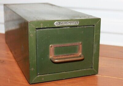 Steelmaster One Drawer Vtg Index Card Stackable Metal File Cabinet Storage Green