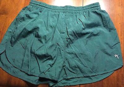 VTG 1990s Laguna Medium Swim Trunks Shorts Swimming Running Solid Green Nylon
