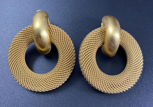 Vintage Door Knocker Clip On Earrings Gold Tone Mesh Hoop Runway Dangle - $17.50