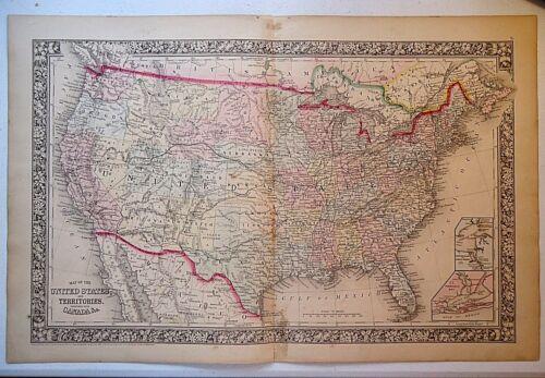 Vintage 1864 UNITED STATES & TERRITORIES MAP Old Antique Original Map 100918