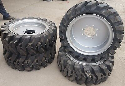 4- Tires With Wheels Solid 33x12-20 12-16.5 Skid-steer Loader Tire 331220