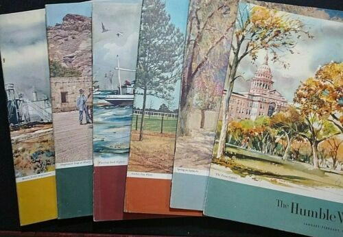 VTG Historical Humble Magazines 1956 Annual Set of 6 Featuring Texas History