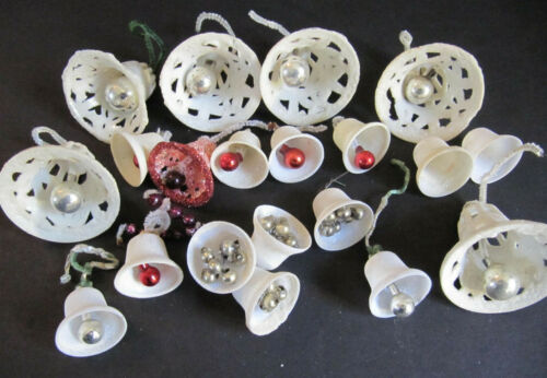 Vintage Sugared plastic Bell Christmas Ornaments lot Glass Bead Clappers