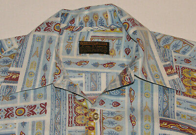 1970s Mens Shirt Styles – Vintage 70s Shirts for Guys VINTAGE 1970s HIEROGLYPH PATTERN SHIRT! LONG SLEEVE! BUTTON FRONT! 70s COLLAR! M $48.99 AT vintagedancer.com