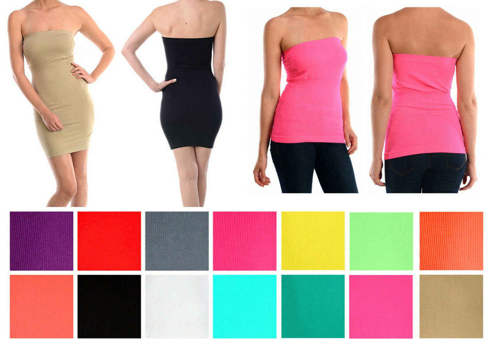 LADIES SEXY TUBE TOP BODYCON CLUB PARTY COCKTAIL MINI SEAMLESS DRESS / TOP Clothing, Shoes & Accessories