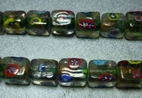 12x10mm clear w/green gold inlay Millefiori glass beads, 2 st 18/st, NOS LJ228A