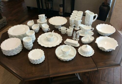 Westmoreland 71 pc 1940 Vtg Milk Glass Paneled Grape Pattern Complete Dinner Set