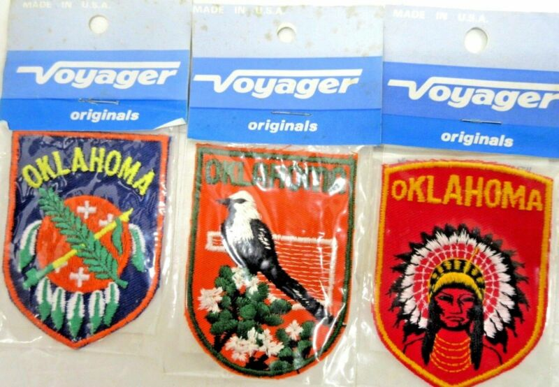 """Lot of 3 Vintage 1980s VOYAGER """"Oklahoma"""" Embroidered Travel PATCH 3 Diff Styles"""