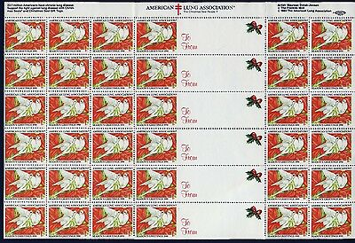 1990 USA Christmas Seal (Doves) . Sheet of 30 + 6 Labels - Mint Never Hinged