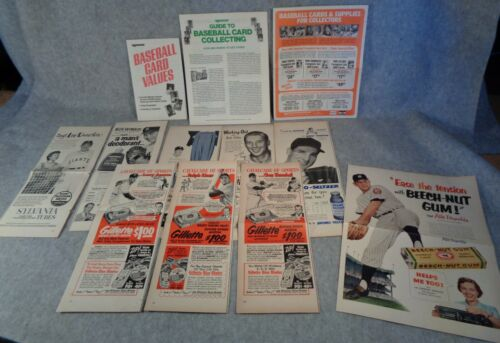 12 vintage BASEBALL Magazine Ads SPORTS advertising MANTLE DUROCHER FELLER KINER