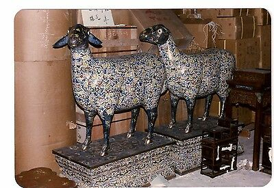 "19th Century Pair of Palace Size Cloisonne Sheep 57"" High"