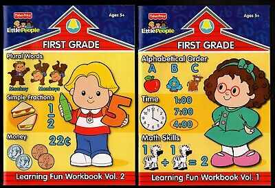 Fisher-Price Little People : First Grade Learning Fun Workbooks 1 & 2 NEW MINT