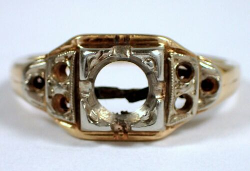 Antique 1.5g SOLID 14k Yellow & White Gold Engagement Wedding Ring Setting Sz 5