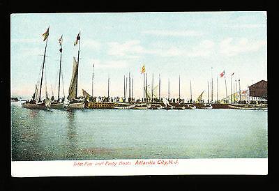 Atlantic City NJ Postcard - Inlet Pier & Party Boats - c1910s