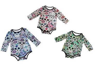 Sugar skull Baby grow Halloween 3 colors designs long sleeves Gothic Baby - Sugar Suite Halloween