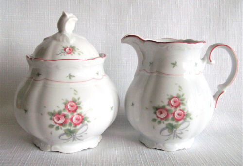 Bavaria Germany Mitterteich Creamer & Sugar Bowl with Rose Finial Porcelain