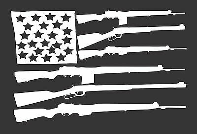 Flag Guns USA 389-  Die Cut Vinyl Window Decal/Sticker for Car/Truck