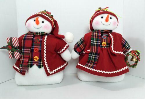 "Mr & Mrs Snowman Plush Figure Set 12"" Pellet Filled Stand Alone Plush Dolls  620"