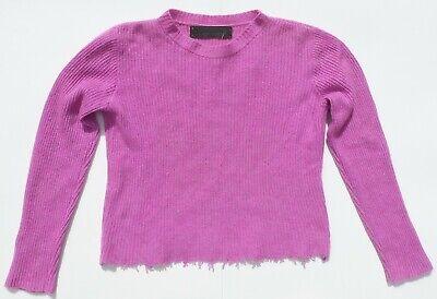 THE ELDER STATESMAN Pink Lavender Marled Rib Knit Distressed Cashmere Sweater S
