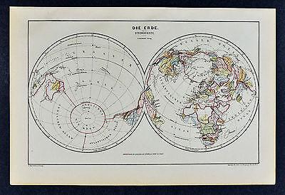 c 1885 Hartleben Map World Stromgebiete Ocean Boundaries Interior Desert Current