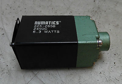Numatics Valve Solenoid, # 225-285B, 6.3 Watts, 24 VDC, Used, WARRANTY