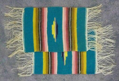 "VTG Miniature Hand Woven Southwestern Rug Doily / Wool Native / 9""x6"" / Set of 2"