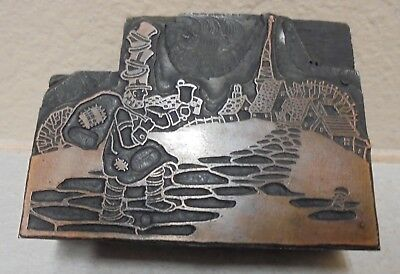 Man With Stack Of Hats Bag Bell Letterpress Printing Block Cut Vintage