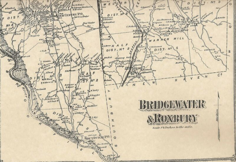 Bridgewater Roxbury CT 1867  Maps with Homeowners Names Shown