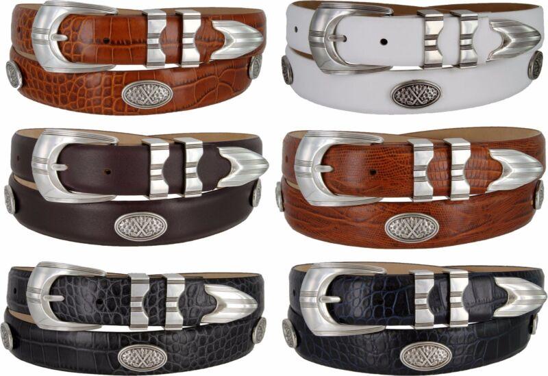 "Silverwood - Italian Calfskin Genuine Leather Golf Concho Belt, 1-1/8"" Wide"