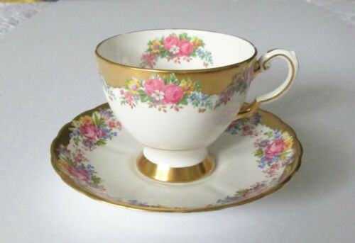 Tuscan Cup & Saucer Floral Rose Garland Heavy Gold Gilt  Fine Bone China England