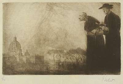 GEORG ERLER - Zwei römische Priester vor dem Petersdom - Radierung 1925