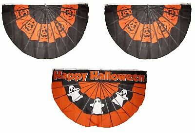 3x5 Happy Halloween 3 Flag Wholesale Set Bunting Fan #1 3'x5' Banner Grommets - Halloween Bunting