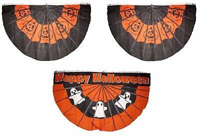 3x5 Happy Halloween 3 Flag Wholesale Set Bunting Fan #1 3'x5' Banner Grommets - Halloween Bunting