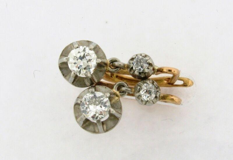 Art Deco Pair Of .86 Carats Diamonds Platinum 18K Gold Earrings