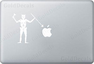 Blackbeard Skeleton - Apple Laptop Decal Bumper Sticker Pirate Window Sticker
