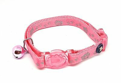 LUXURY CAT KITTEN REFELECTIVE SILVER BELL NYLON COLLAR PINK SAFETY CLIP MADE UK
