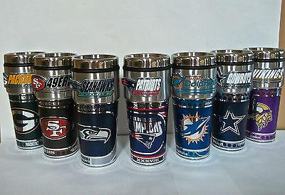 NFL Stainless Steel Coffee Mug Travel Tumbler Insulated ~16 OZ~ Metallic Logo